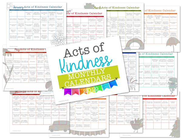 a collage of twelve printable calendars with title text reading Acts of Kindness Monthly Calendars 2019