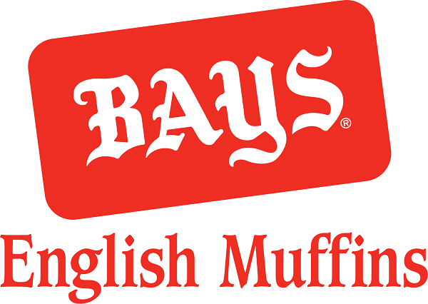 red and white text that reads Bays English Muffins