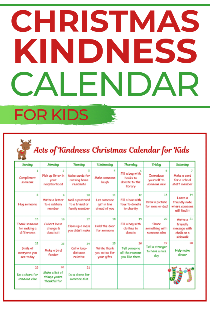 a white, red, and green printable calendar with title text reading Christmas Kindness Calendar for Kids