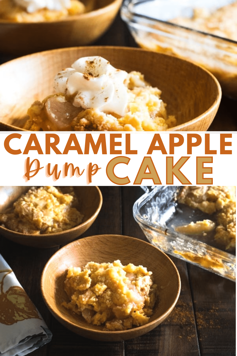 This caramel apple dump cake is a family favorite because it tastes amazing and only takes a few minutes to put together. Just 3 ingredients! #dumpcake #easydessert #caramelapple via @wondermomwannab