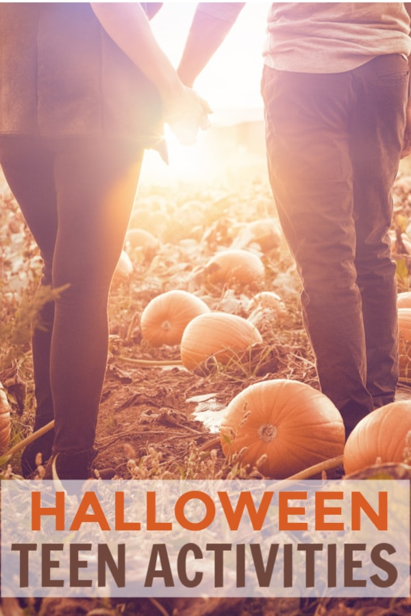 the back of two teens holding hands in a pumpkin patch with title text reading Halloween Teen Activities
