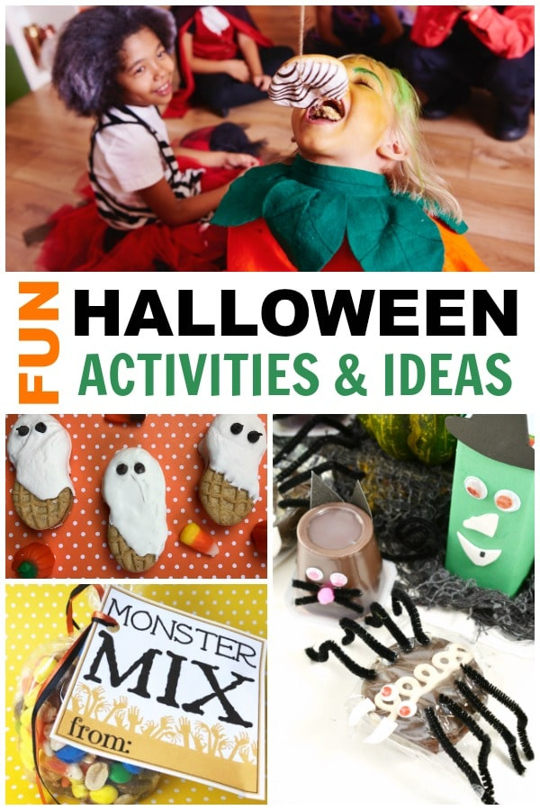 a collage of several different foods and activities with title text reading Fun Halloween Activities & Ideas