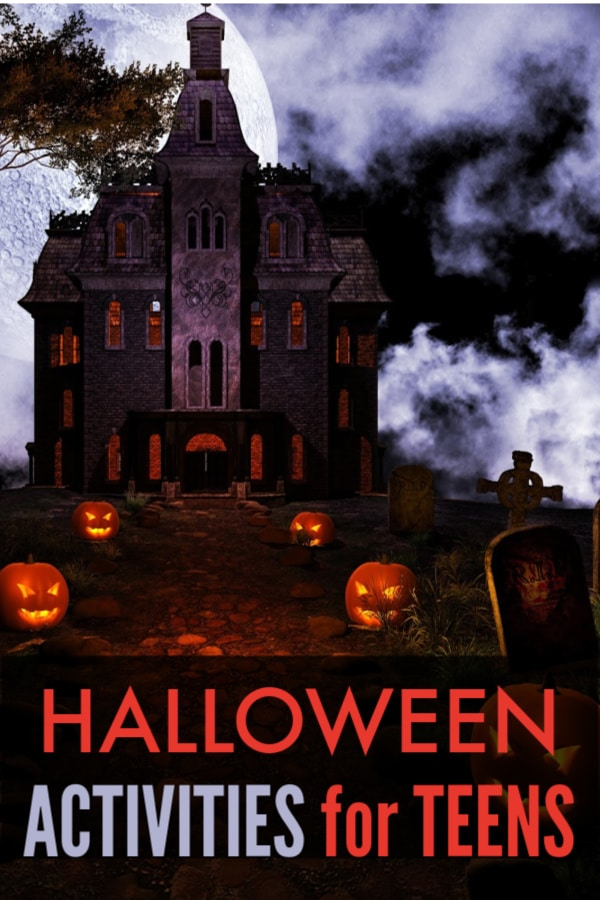 a path of pumpkins leading up to a haunter house with title text reading Halloween Activities for Teens