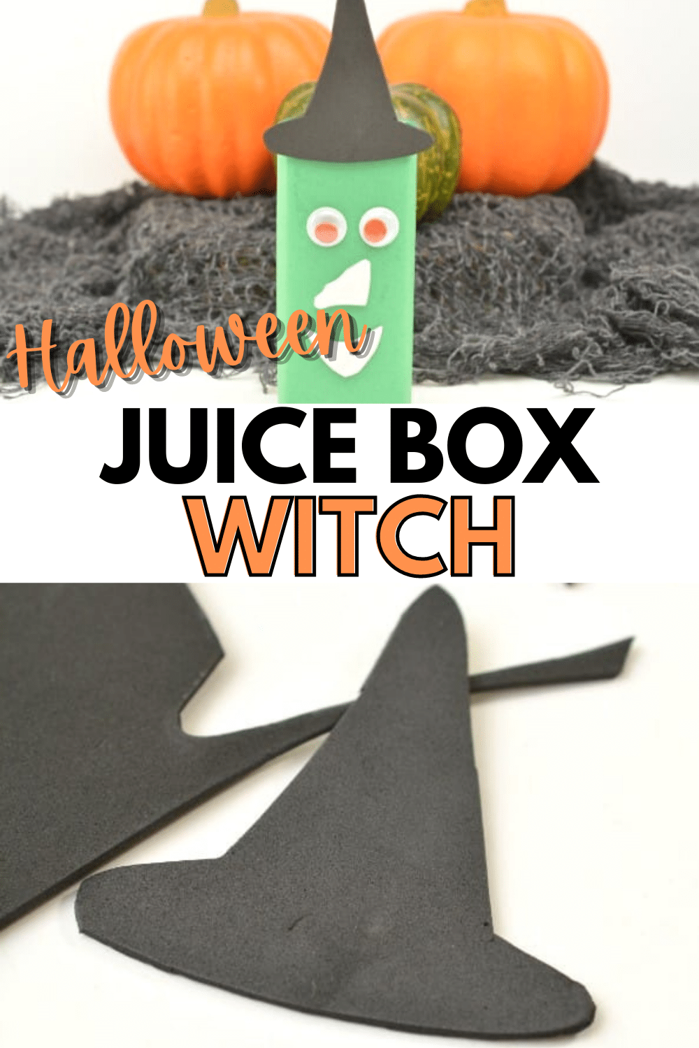 This Halloween Juice Box Witch is such a fun and easy way to add some fun to your child's lunchbox at Halloween! #Halloween #juicebox #easycrafts via @wondermomwannab