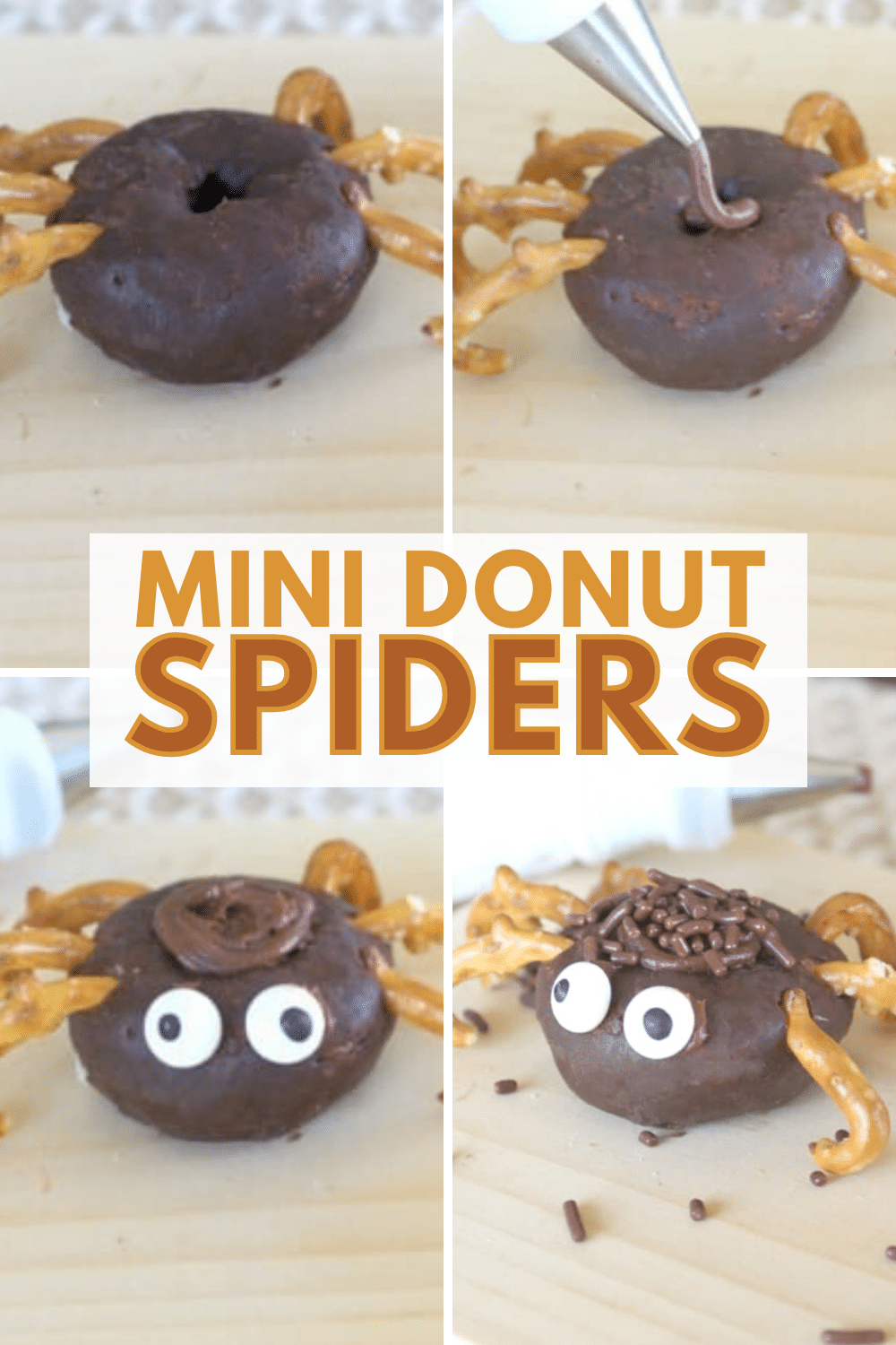 Such a fun and easy Halloween treat idea! This tutorial shows you how to make a spider using mini donuts and pretzels in just minutes. #funfood #Halloween #spidertreats #minidonuts via @wondermomwannab