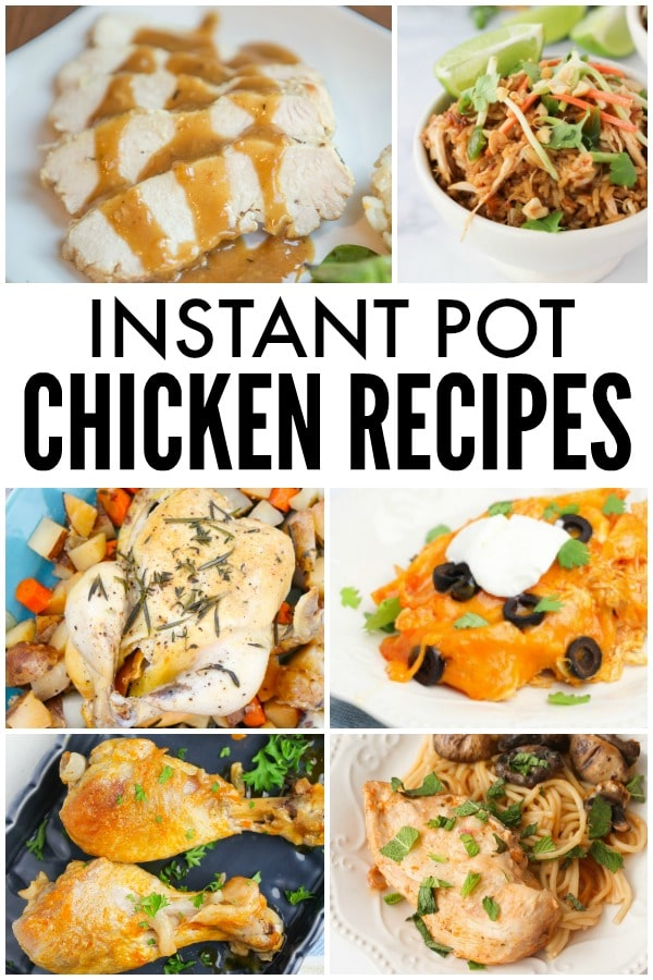An amazing collection of a wide variety of Instant Pot chicken recipes. Recipes for chicken breasts, chicken wings, chicken legs, and whole chicken too! Plus all different types of cuisine (homestyle, Mexican, Asian, Italian). #instantpot #chicken #pressurecooker #dinner #recipes via @wondermomwannab
