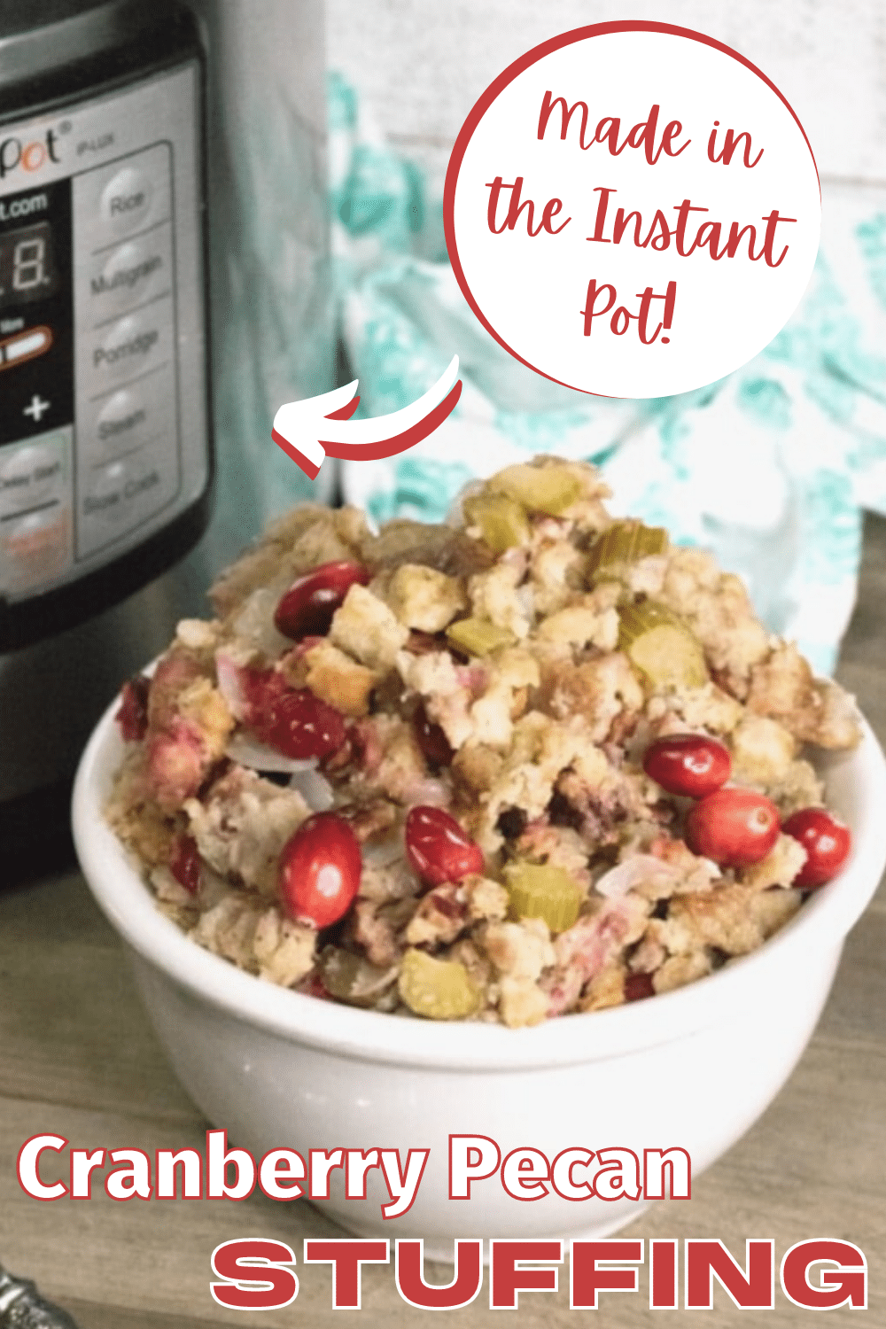 This Instant Pot Stuffing is so yummy and really easy to make, It comes out perfectly moist and full of flavor! #Thanksgiving #sidedishes #stuffing via @wondermomwannab