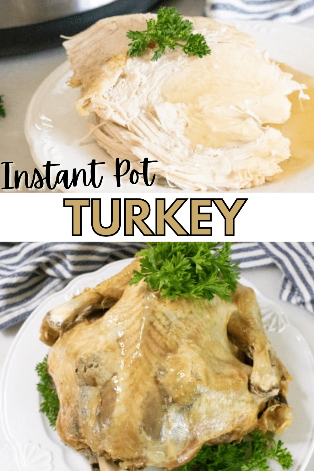 This Instant Pot Turkey turns out perfect and leaves your oven open for side dishes! #Thanksgiving #instantpot #turkey via @wondermomwannab