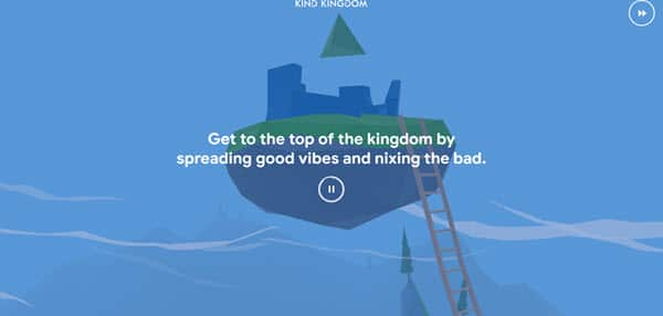 screenshot of a boat under water in the Interland game with text reading Get to the top of the kingdom by spreading good vibes and nixing the bad