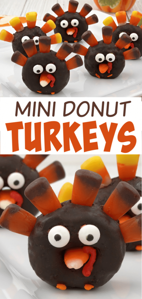 a collage of mini chocolate donuts decorated with candy corn and candy eyes to look like a turkey with title text reading Mini Donut Turkeys