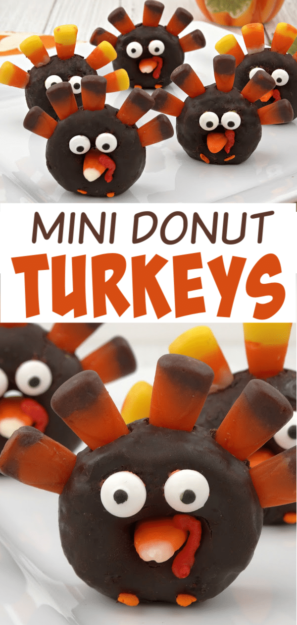 These mini donut turkeys are an adorable Thanksgiving treat and they're super easy to make! #Thanksgiving #funfood via @wondermomwannab