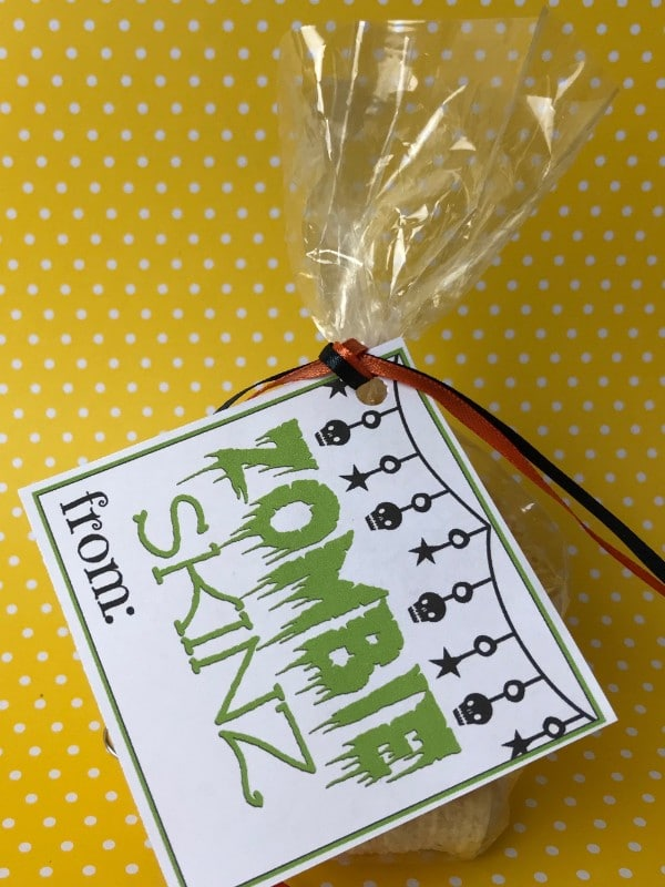 chips in a plastic bag with a label on it with text reading Zombie Skinz on a yellow and white polka dot background