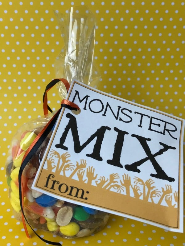 Autumn mix in a plastic bag with a label on it with text reading Monster Mix on a yellow and white polka dot background