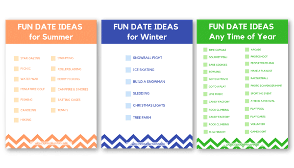 printable fun date ideas for teens for summer, winter and any time of year