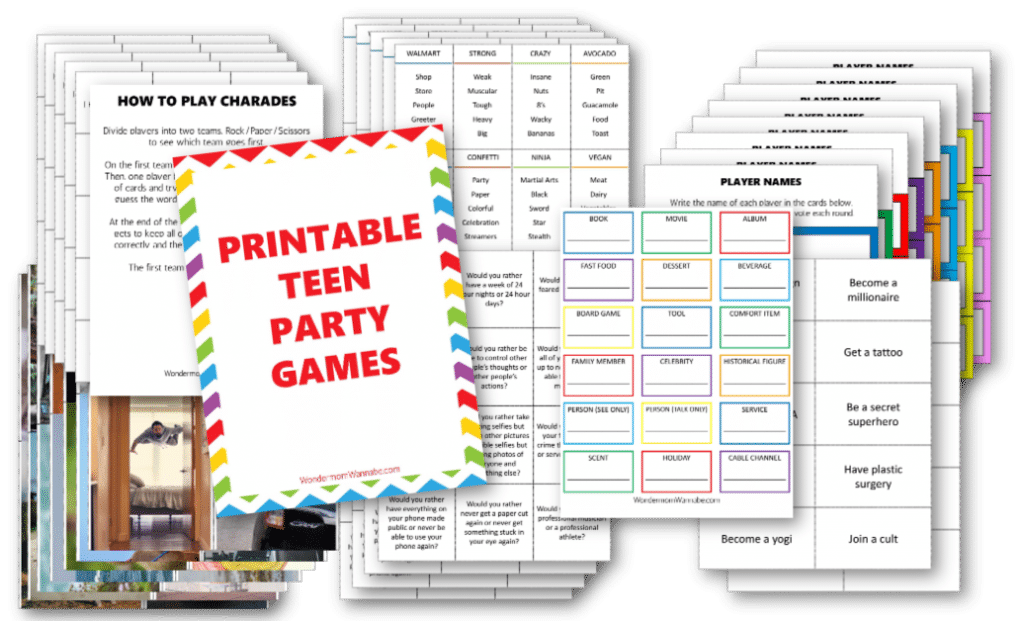 printable teen party games