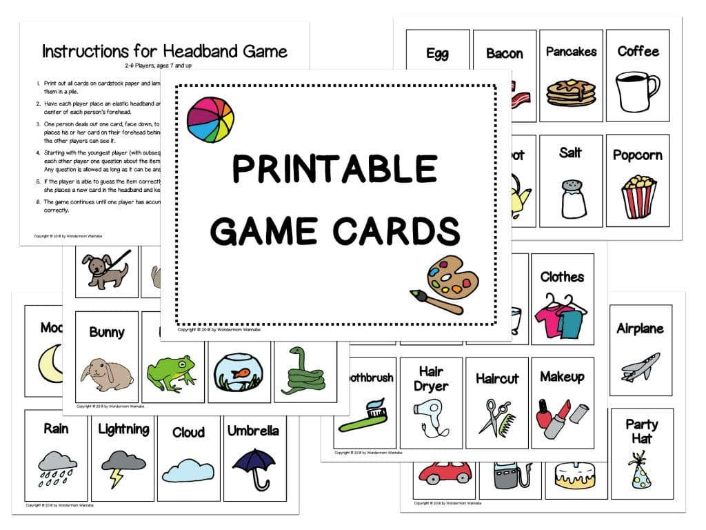 printable game cards for the headband game