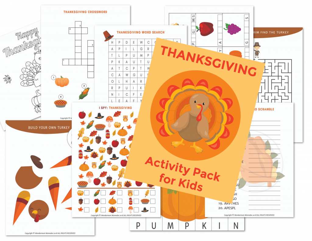nine printable pages of Thanksgiving activities with a yellow paper in the center with a turkey graphic in the middle of it  with text on it reading Thanksgiving Activity Pack for Kids