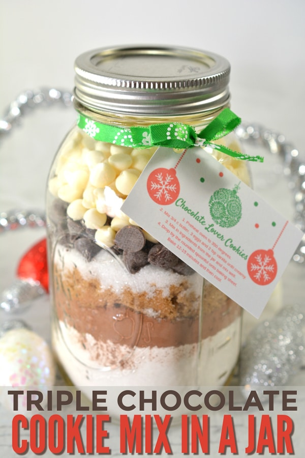 Triple Chocolate Cookie Mix in a Jar
