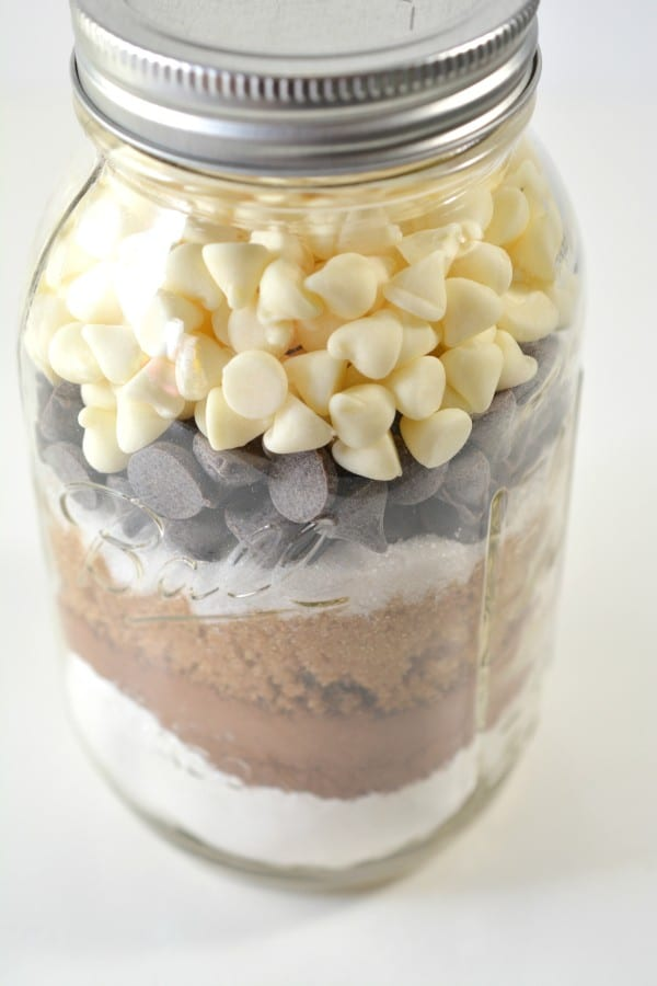 Triple Chocolate Chip Cookie Mix layered in a Jar