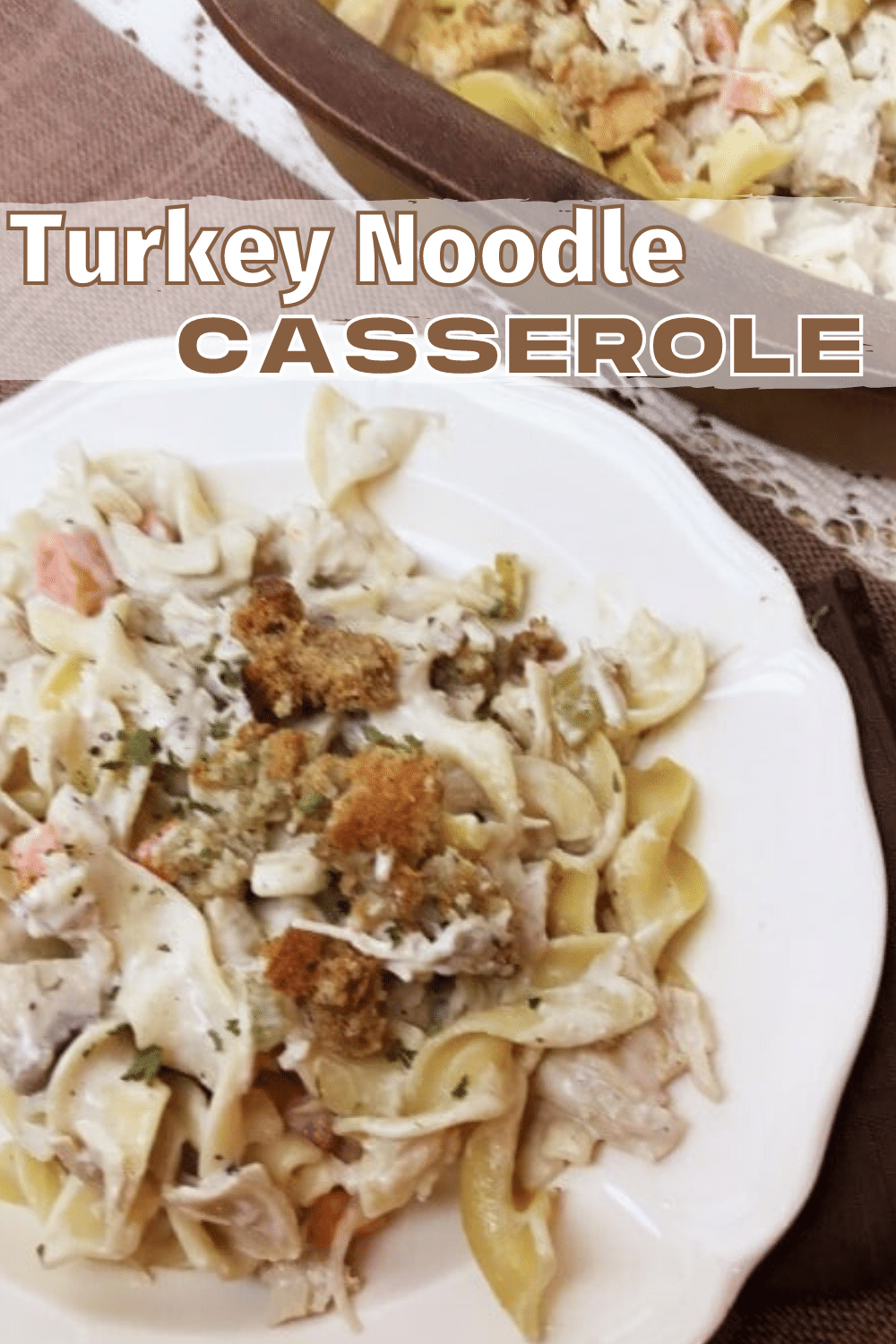 This turkey noodle casserole is so yummy and it's a great way to use leftover turkey or chicken. It's delicious! #turkey #casserole #easydinner via @wondermomwannab