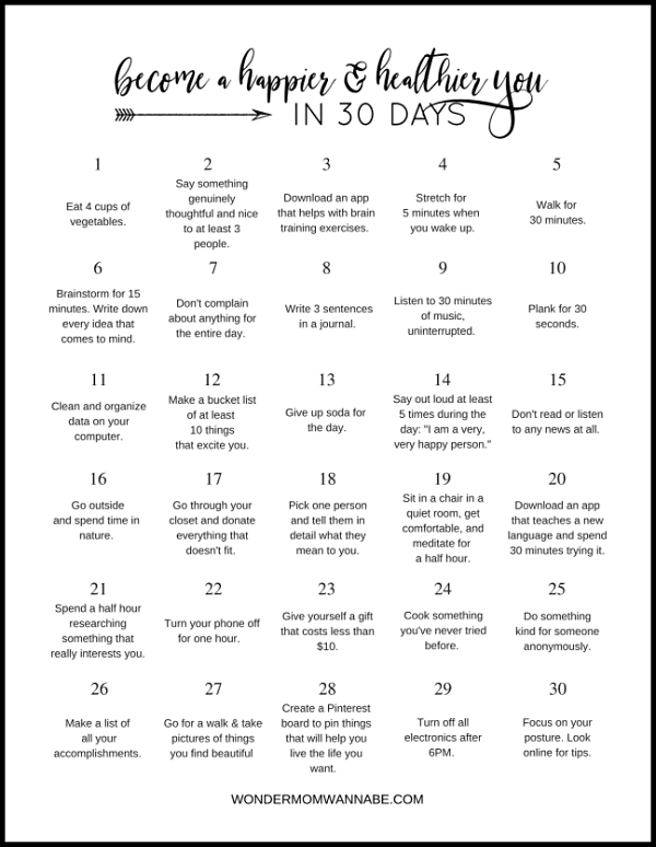 30 Day Challenge Happier Healthier You