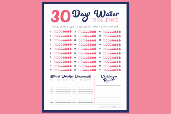 printable 30 day water challenge on a pink background