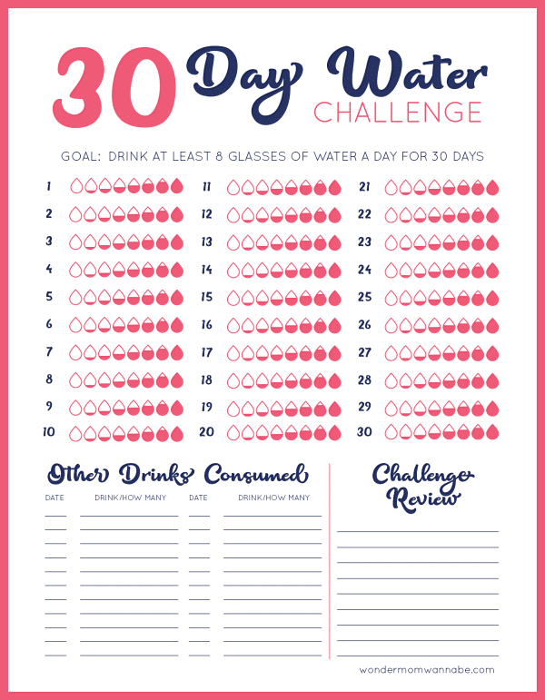 printable 30 Day Water Challenge