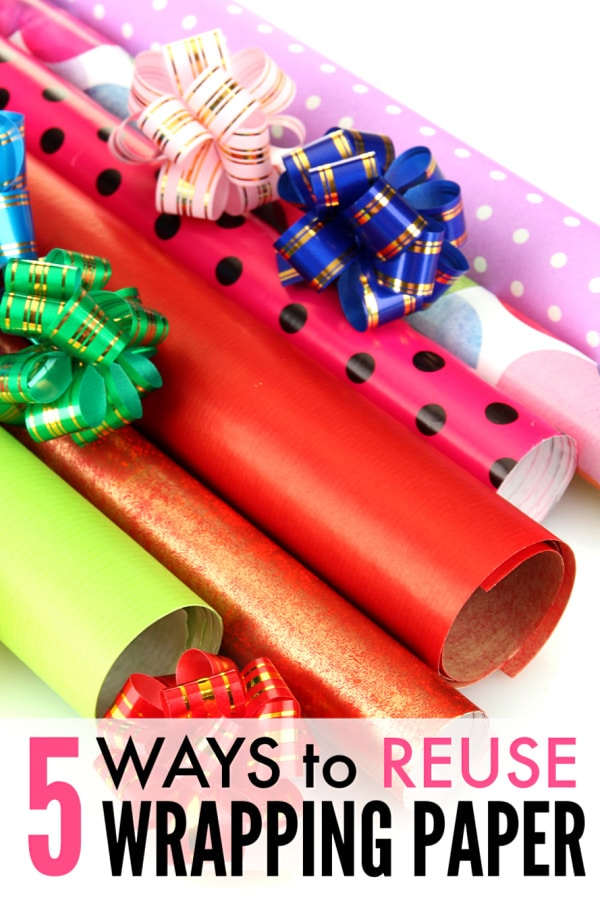 wrapping paper and bows with title text 5 Ways to Reuse Wrapping Paper