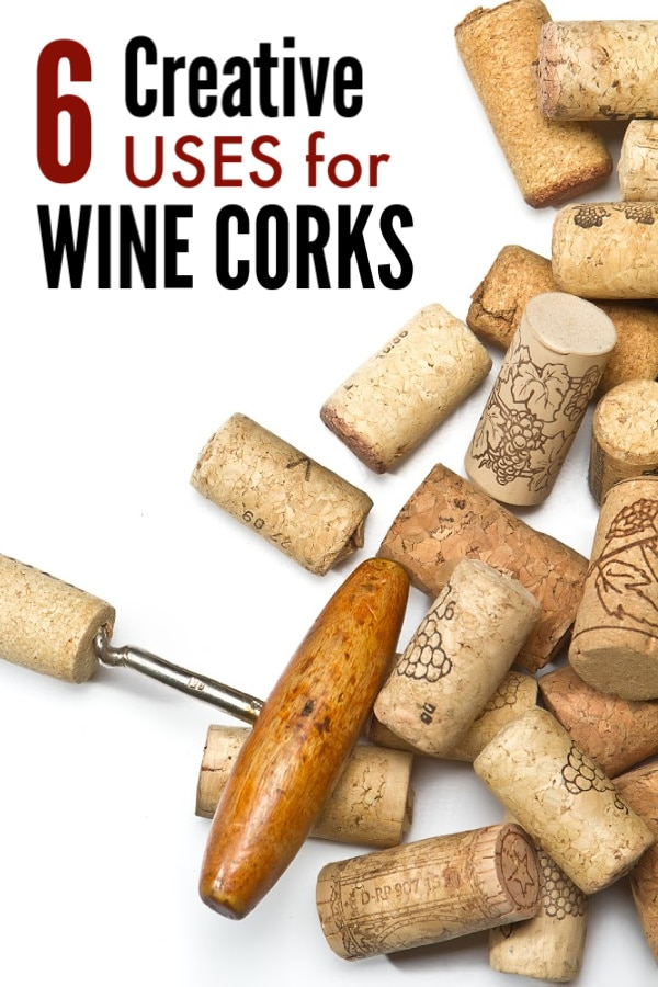 corks and a corkscrew opener on a white background with title text reading 6 Creative Uses for Wine Corks