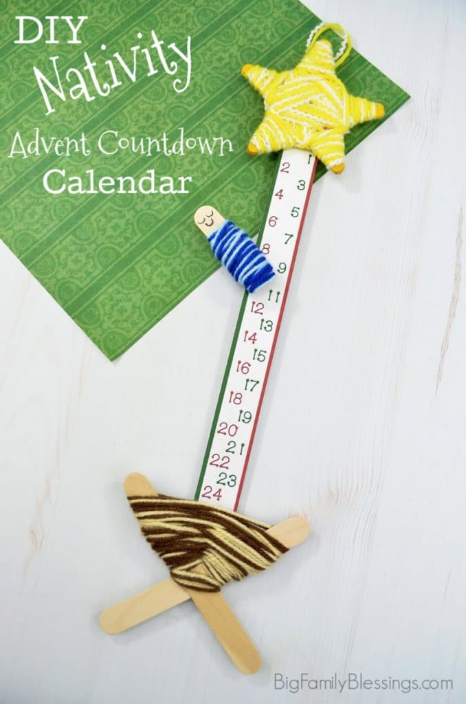 a paper with numbers on it in between wood string art of a manger and a star with title text reading DIY Nativity Advent Calendar Countdown