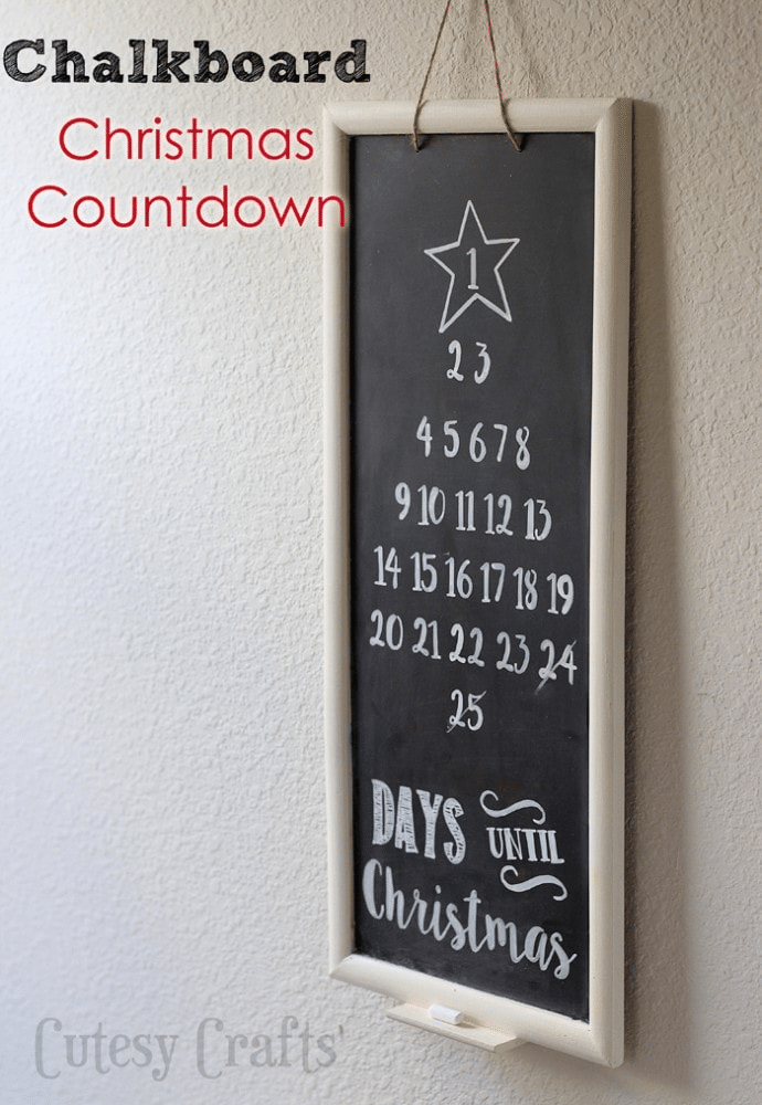 a chalkboard on a wall with a star and numbers on it with text on the bottom reading Days Until Christmas with title text reading Chalkboard Christmas Countdown