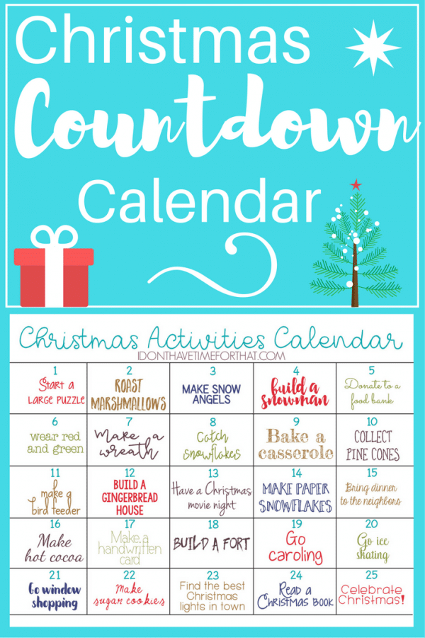 Christmas Activities Calendar on a glue background with a present and Christmas tree graphic with title text reading Christmas Countdown Calendar