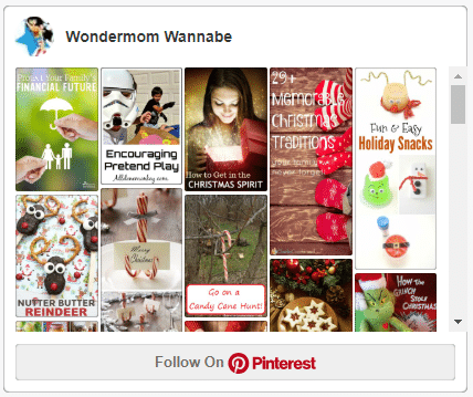 screenshot of Wondermom Wannabe's Christmas Ideas Pinterest board