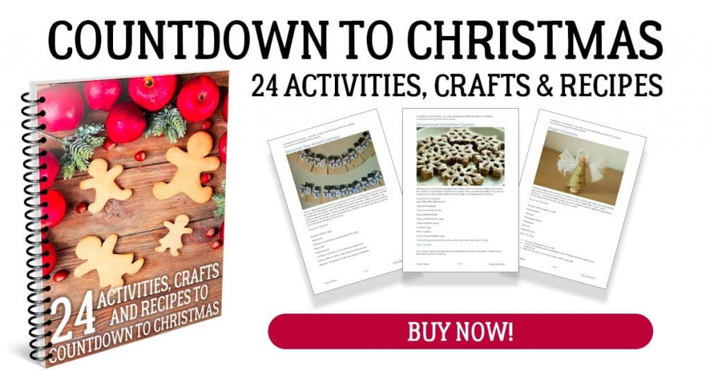 a spiral book with examples of 3 of the pages with title text reading Countdown to Christmas 24 Activities, Crafts & Recipes