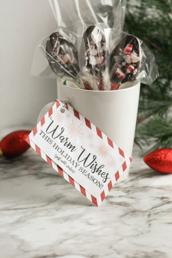 spoons with chocolate and peppermint on them in a white mug with a tag on it that reads warm wishes this holiday season next to ornaments and a Christmas tree