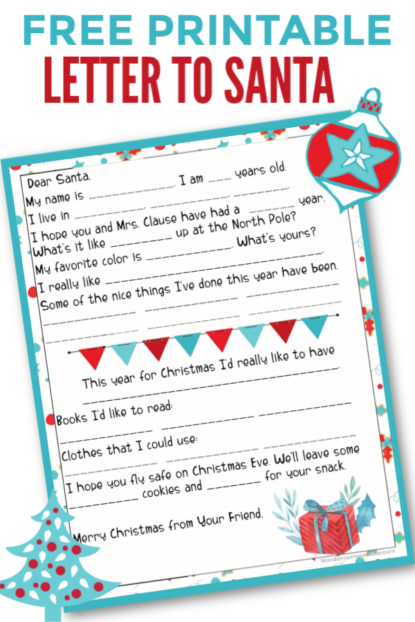 printable with title text reading Free Printable Letter to Santa