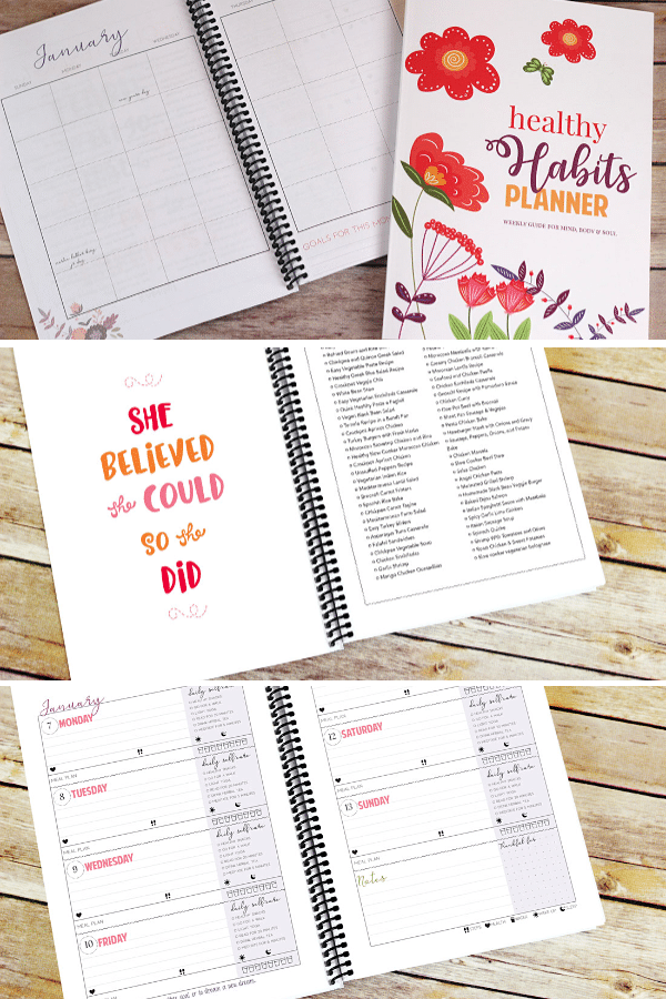a collage of different pages of a healthy habits planner