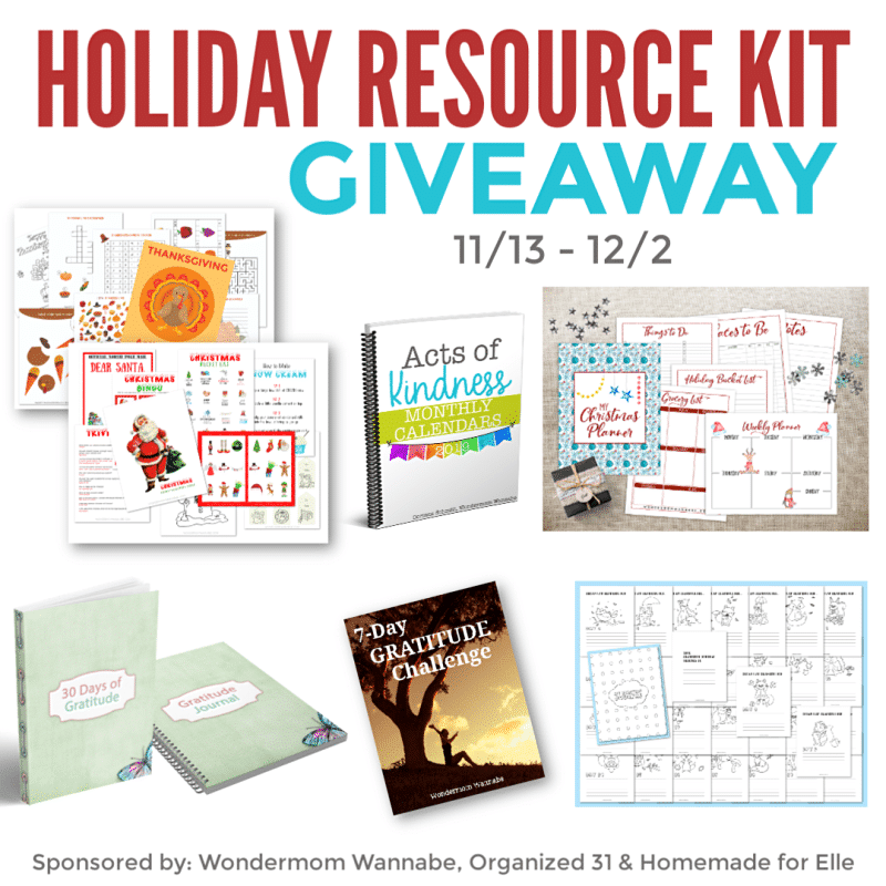 images of six different planners, calendars, and books with title text reading Holiday Resource Kit Giveaway