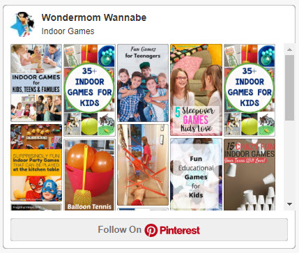 a screenshot of Wondermom Wannabe's indoor games board on Pinterest