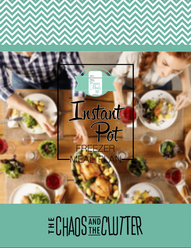 a family eating dinner at a table with title text Instant Pot Freezer Meal Plan