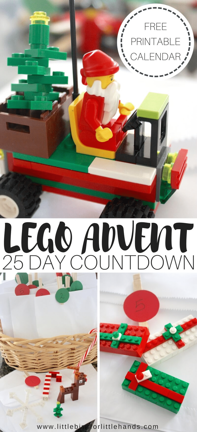 a collage of legos and paper bags in a basket with title text reading Lego Advent 25 Day Countdown