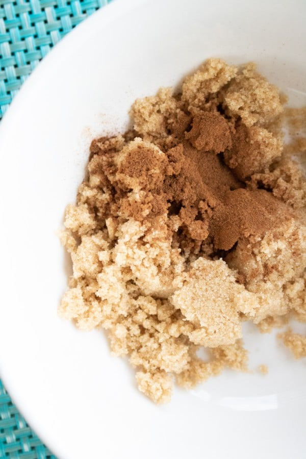 brown sugar and cinnamon in a white bowl