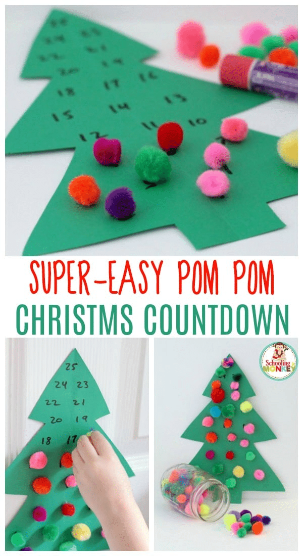 a collage of a paper Christmas tree with colored pompoms on it with title text reading Super Easy Pom Pom Christmas Countdown