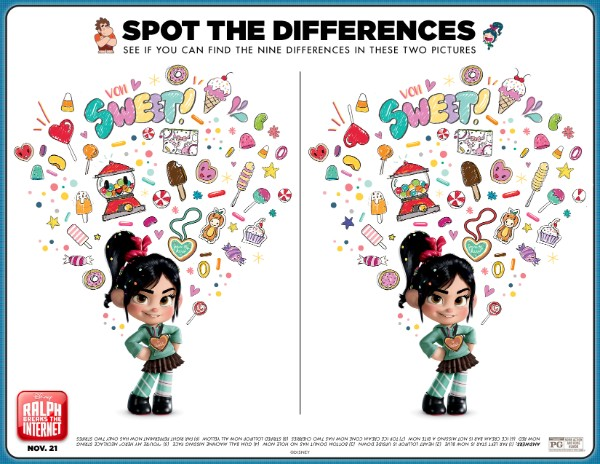 Ralph Breaks the Internet printable spot the differences activity sheet
