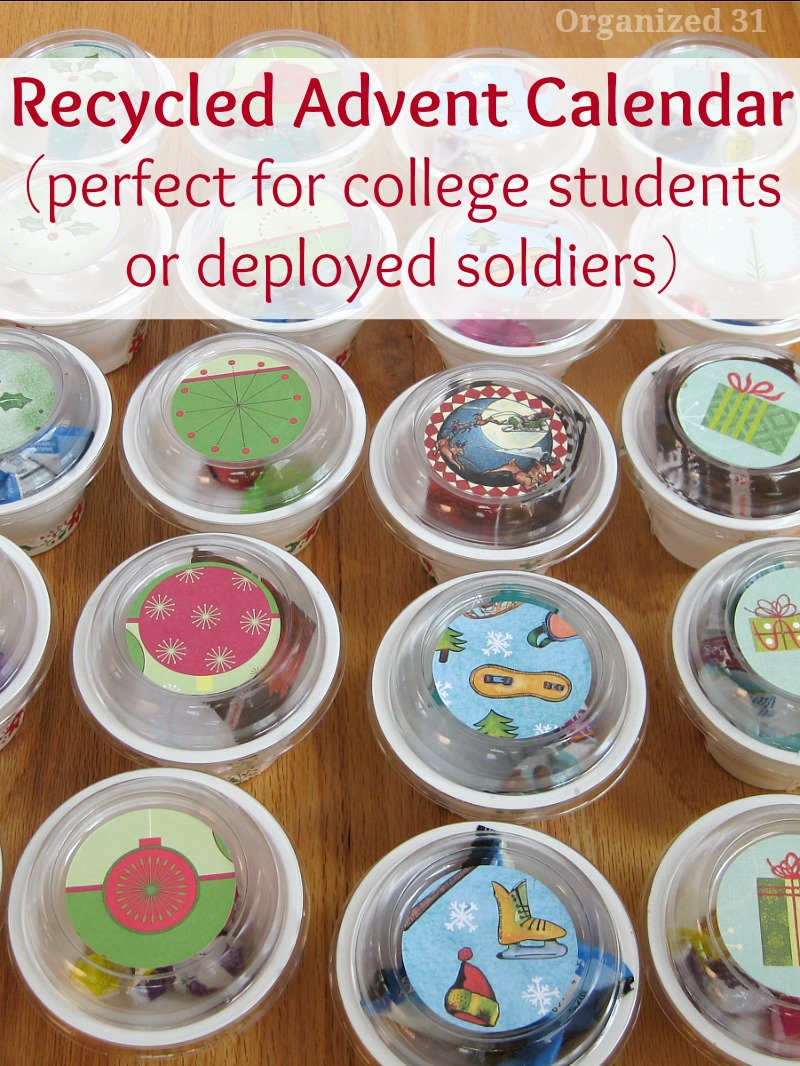 cups full of items with lids on them with title text Recycled Advent Calendar perfect for college students or deployed soldiers