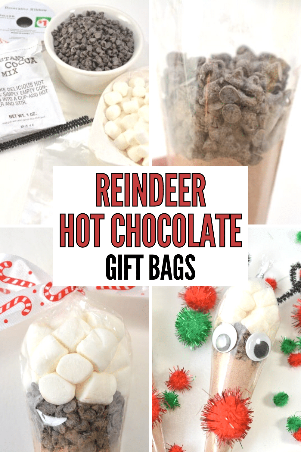 These reindeer hot cocoa treat bags are great (easy) gift ideas for Christmas! They're super cute and so easy to make. #DIYgifts #easygiftideas #reindeer #hotcocoa via @wondermomwannab