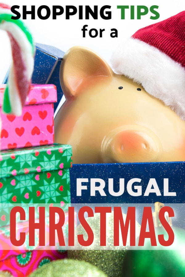 a plastic pig wearing a Christmas hat surrounded by presents with title text reading Shopping Tips for a Frugal Christmas
