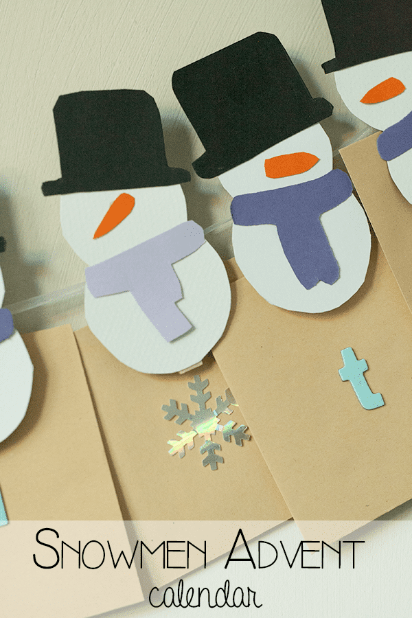 paper snowmen attached to pieces of brown paper with title text reading Snowmen Advent Calendar