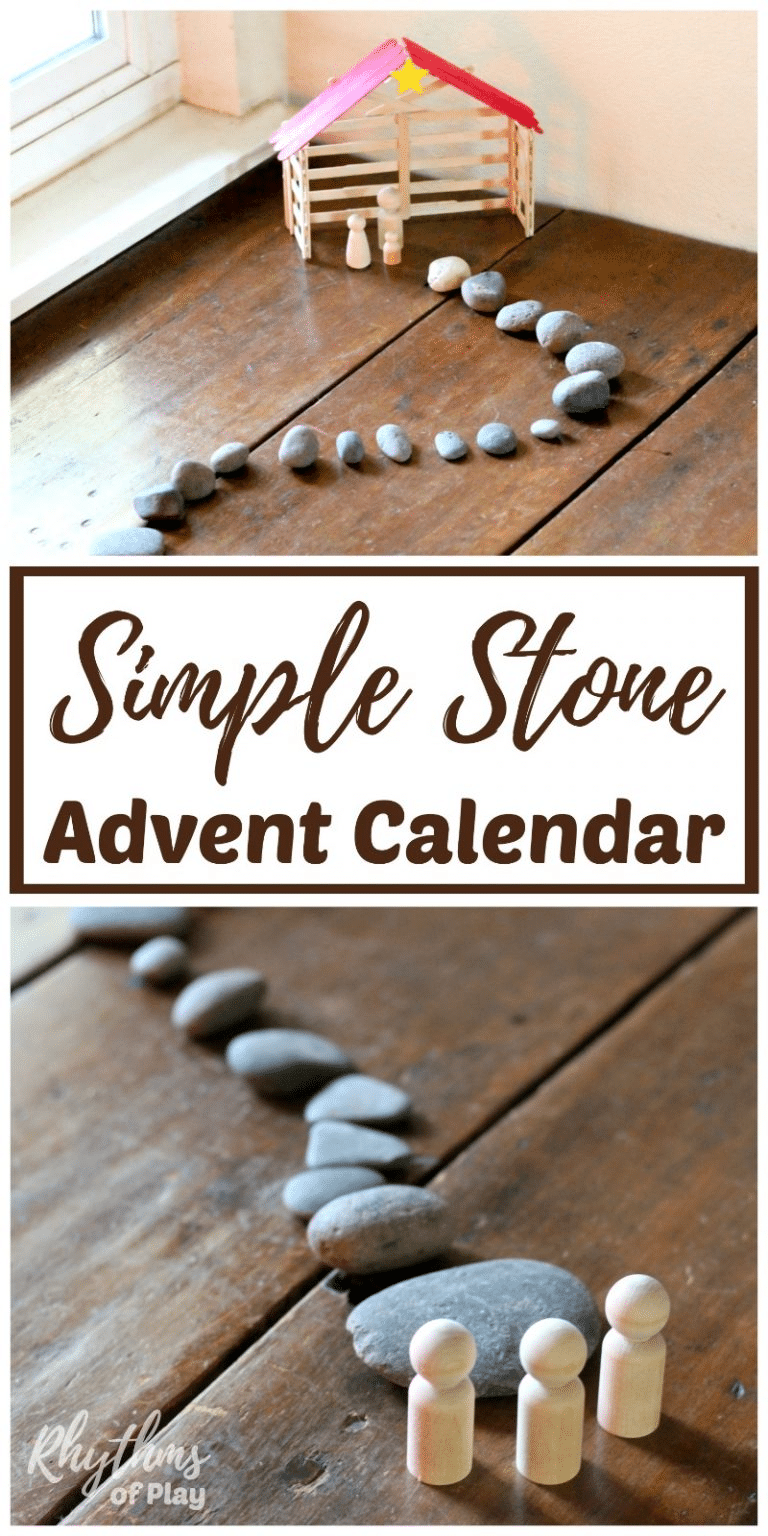stones on a winding path on a wood floor from wooden people to a wooden manger with title text reading Simple Stone Advent Calendar