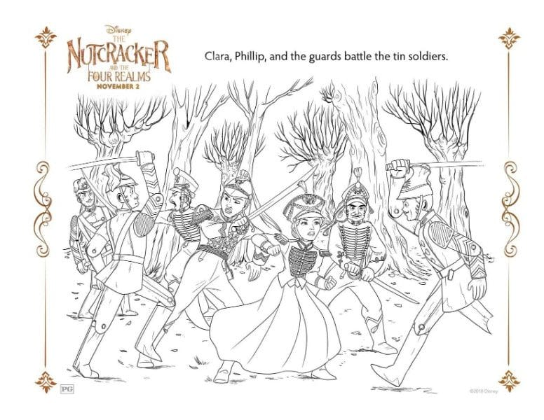 A Nutcracker printable coloring page for the characters Clara, Phillip and the tin soldiers